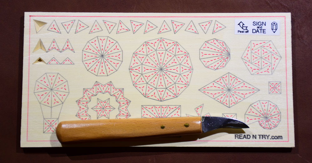 Chip carving practice board read n try