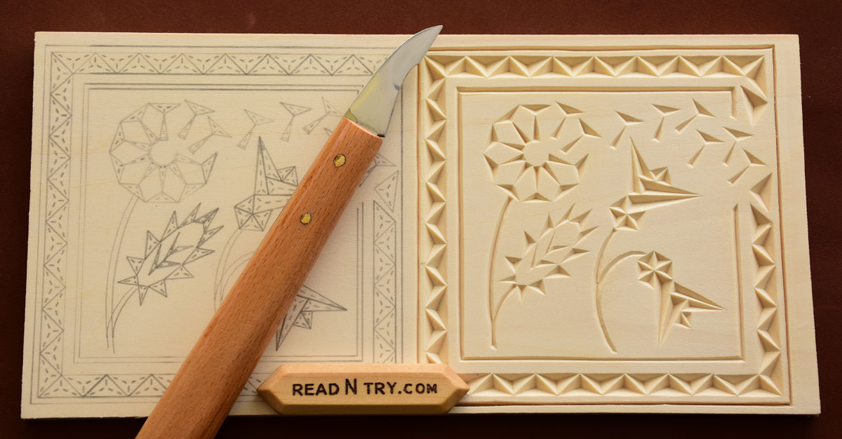 Chip carving coaster patterns read n try